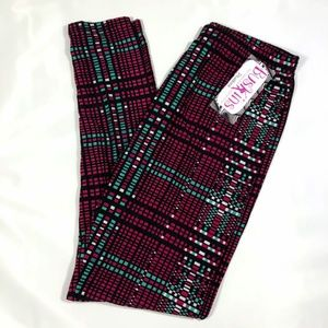 Pants - Digital Plaid Leggings Plus Size TC Fits 14-20